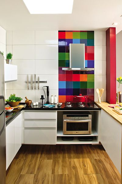 Love the big white tiles and the multicolour ones.