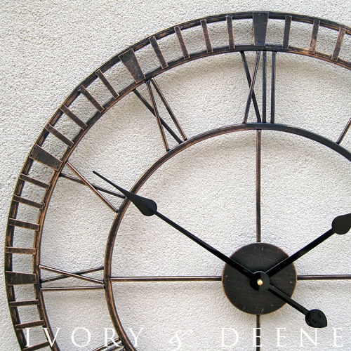Large wrought iron wall clock french provincial rustic Oversized metal wall clocks