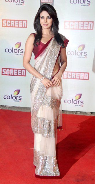 """Lovely, simply gorgeous, classy... there are many adjectives to describe Priyanka in a sari."""