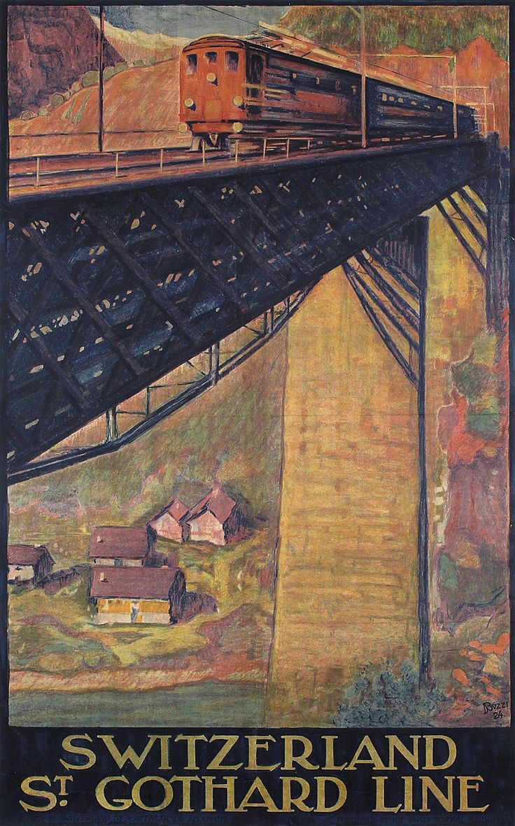 RARE Original 1920s Swiss Rail Travel Poster GOTHARD