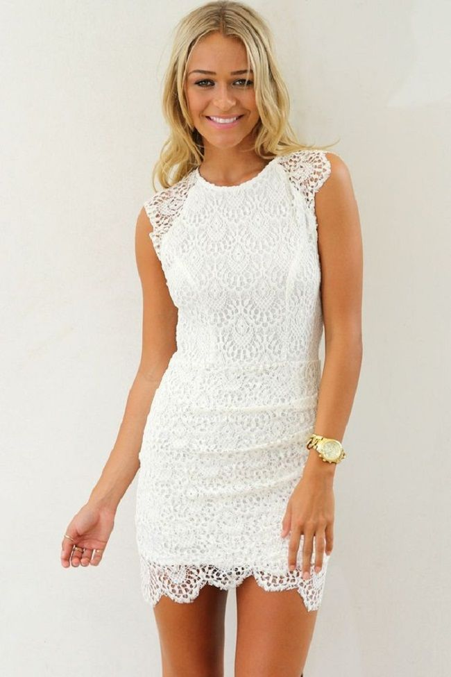 Cocktail white lace dress.