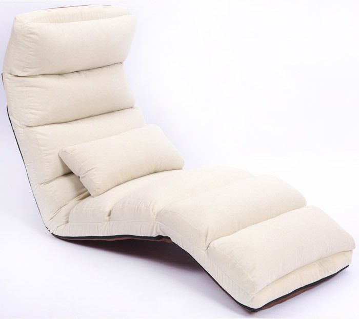 Varossa Chaise Lounge Recliner Chair Sofa Bed Ivory Chair Sofa
