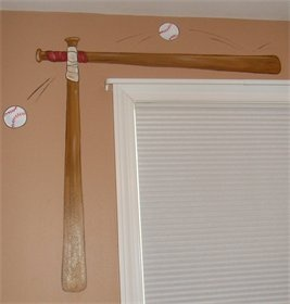 Boys baseball bedroom - or instead of stickers use real bats. Or cut bats and attach ends to curtain rod.