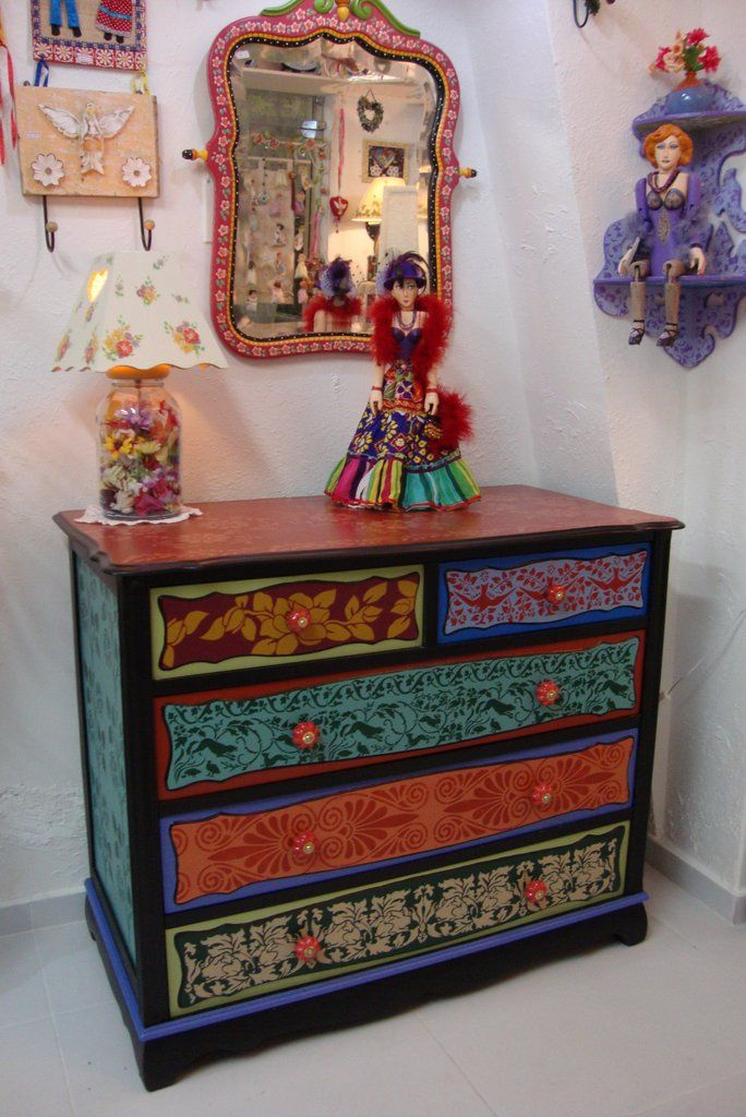 painted furniture, atelier odila freire, colors, decoupage