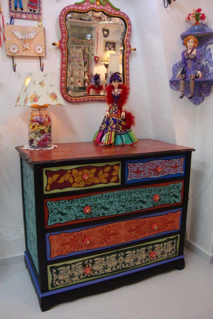 painted furniture, atelier odila freire, colors, decoupage