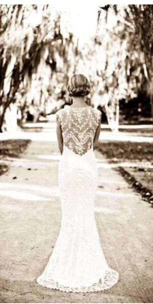Vintage lace dress with open back