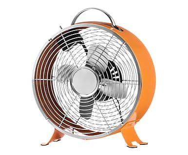 Ventilatore da tavolo in metallo con 2 velocita' Retro arancione - 27x11x31 cm