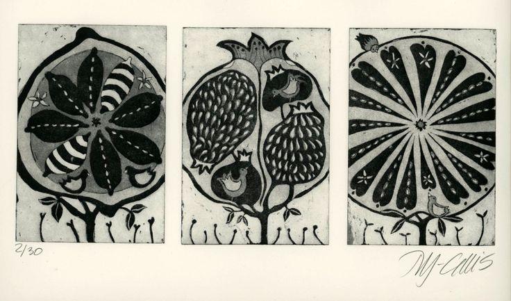 """Pomegranate, lemon and orange tree"" aquatint etching by Mariann Johansen-Ellis. http://www.etsy.com/uk/people/mariannjohansenellis?ref=ls_profile. Tags: Linocut, Cut, Print, Linoleum, Lino, Carving, Block, Woodcut, Helen Elstone, Fruit."