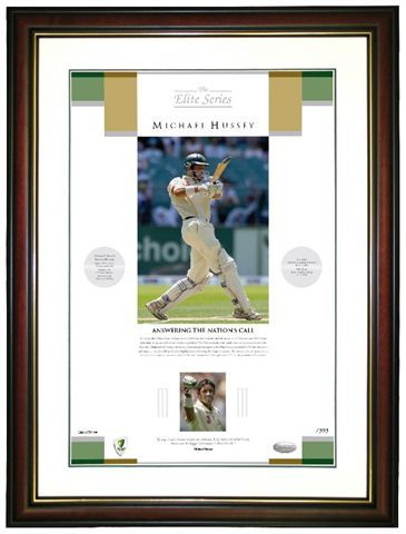 """Mike Hussey: """"It is an absolute honour to represent Australia. It has taken a lot of hard work, but to wear the Baggy Green makes it all worthwhile. """"Answering The Nations Call """" Personally hand signed by Mike Hussey Limited to his test number Fully licensed by CA Comes with COA Size 600 x 800 framed"""