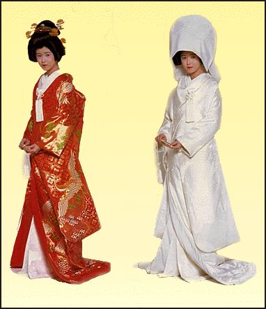 A Japanese bride endures five costume changes wearing a traditional white kimono with a white hat fixed over complex hairstyle (usually a wig) for the ceremony.