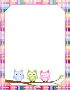 Free Printable Owl blank paper Stationery