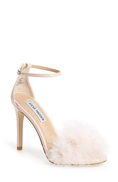 Steve Madden 'Scarlett' Marabou Evening Sandal. A flirty, marabou-covered toe balanced by a slender ankle strap and a towering wrapped stiletto.