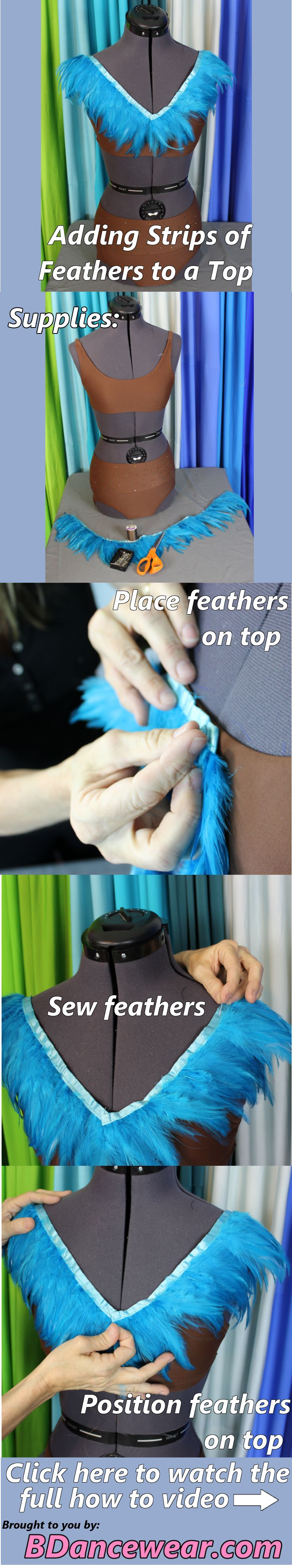 Adding strips of feathers to a top for a DIY dance costume.