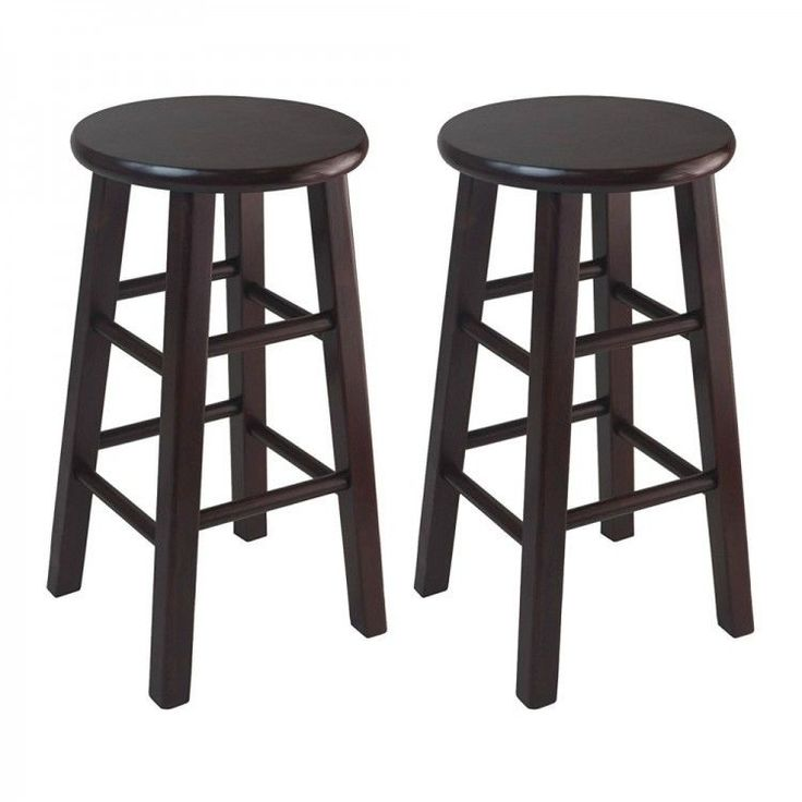 """Wood Counter Bar Stools Wooden Furniture 24"""" Stool Set of 2 Home Barstool Chairs #WoodCounterBarStools"""