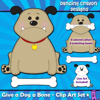 """""""Give a Dog a Bone"""" Clip Art Set.  Perfect for making teaching resources and matching games.  Cut a slot in the dog's mouth so he can hold the bone."""