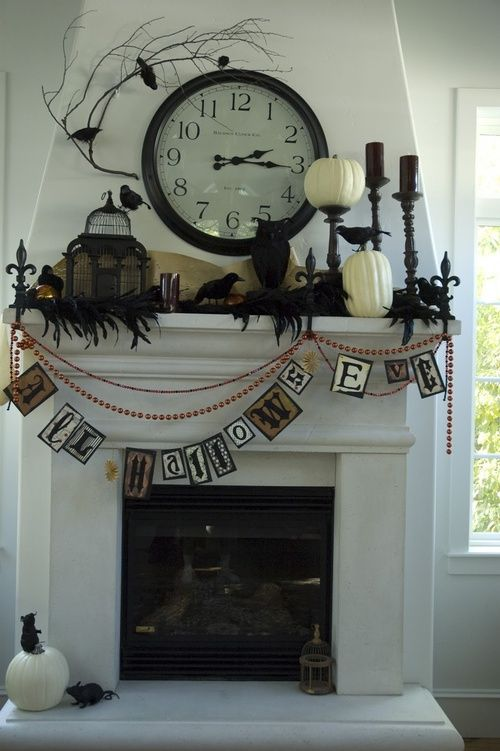 20 cool halloween mantels - Halloween Mantel Decor
