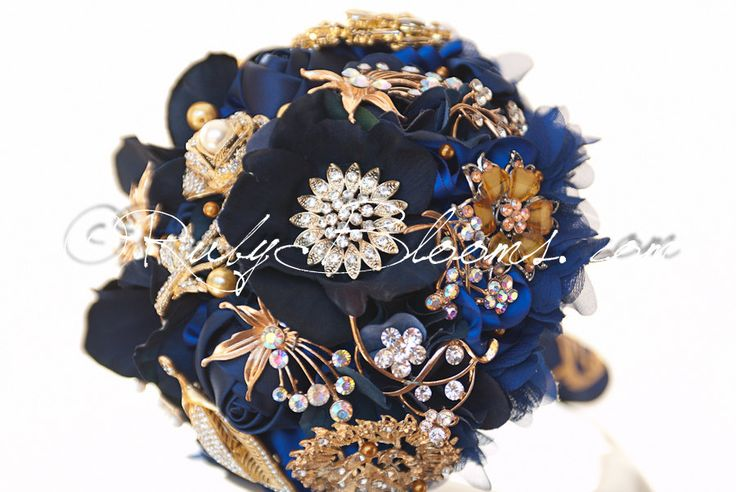 "Royal Blue, Gold Wedding Brooch Bouquet. DEPOSIT ""Royal Blue"" Gold Blue Wedding Bouquet. Bridal Broach Bouquet by Ruby Blooms Wedding"