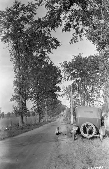 Here is the highway from Ottawa to Montreal near Rigaud, Quebec, in the 1920s.