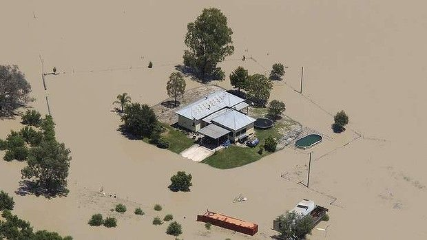 AFR.10/02/2012.Photo by ROB HOMER.......Images from WALGETT that is experienced its second biggest flood in history......Pictured aerial images of flooding around the town of walgett .