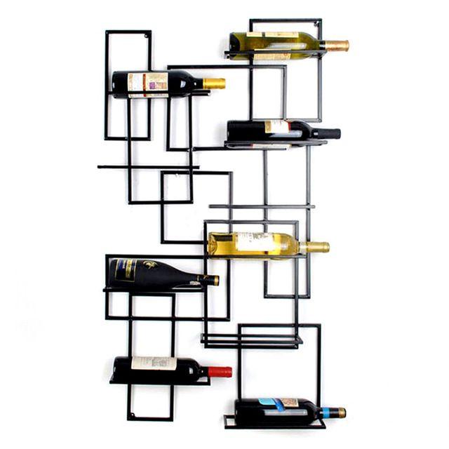 10 Fles Wandmontage Metalen Wijn Houders Ijzeren Muur Wijnrek Fles Houder Bar Toont Decoratie Display Bar Thuis Organizer