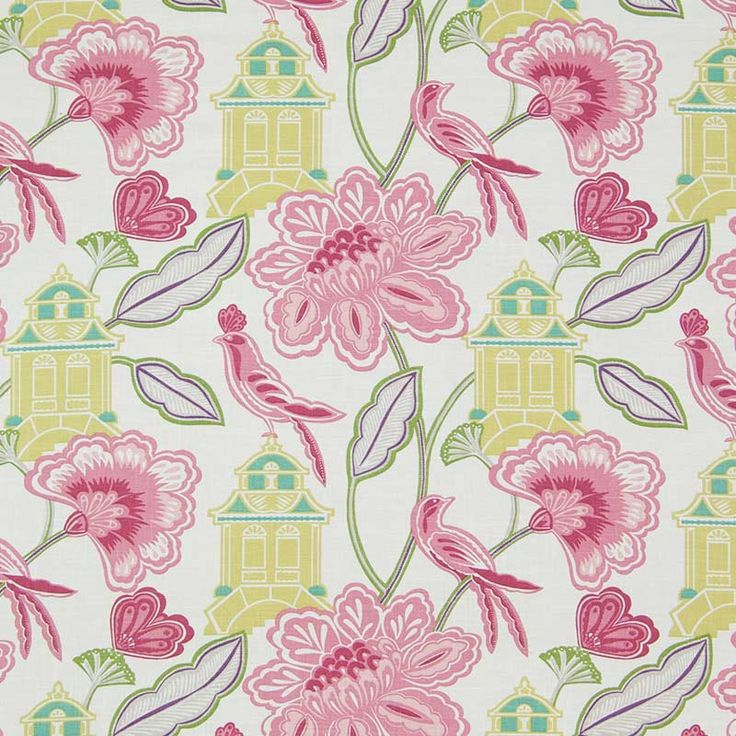 Warwick Fabrics : LANTERN GARDEN, Colour CHERRY