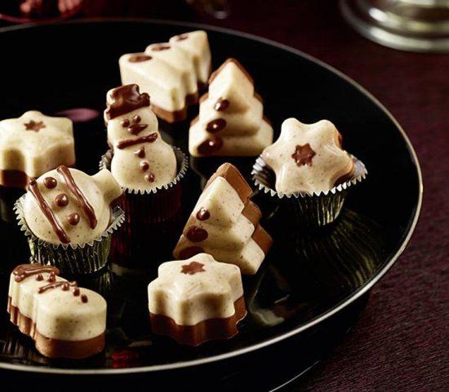 Winterpralinen - Schokoladige Pralinen mit Nuss-Nougat aus der Silikon-Schokoladenform                                                                                                                                                                                 Mehr
