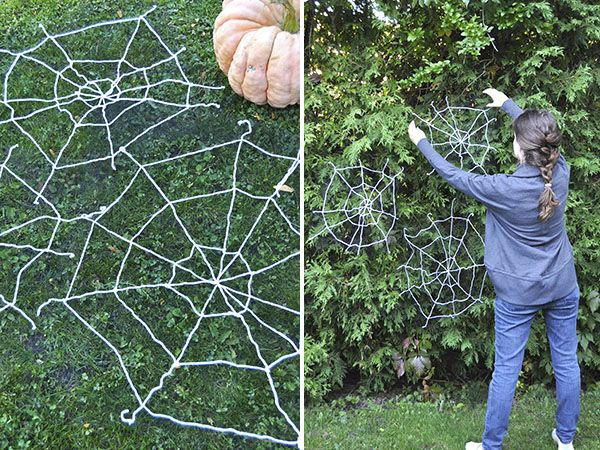 Yarn Spiderwebs | Oh Happy Day!  the trick is to weave the yarn through (black) tulle to ensure they don't become a hugely tangled mess!!