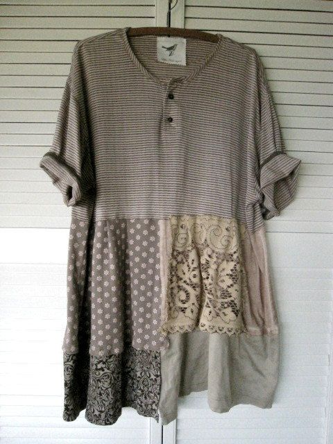 Eco upcycled clothing Tattered Romantic by lillienoradrygoods ~ would make a great tunic!                                                                                                                                                                                 More