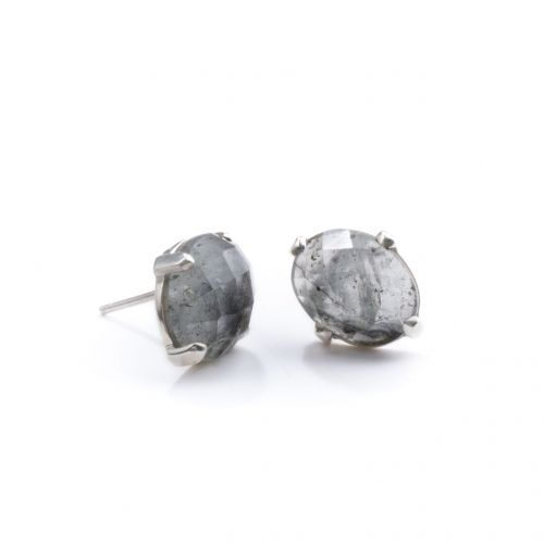 Black Rutile Quartz Studs Silver | The Pink City Collection | Cathy Pope Jewellery