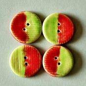 Ceramic Button Set of 4 – Red & Green