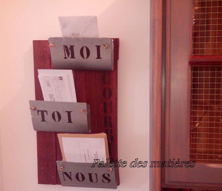 porte courrier bois de palette zinc f pionnier meubles objets en bois et palettes diy. Black Bedroom Furniture Sets. Home Design Ideas