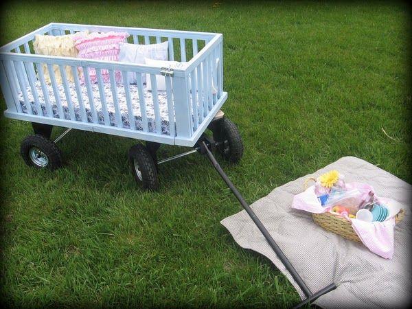 crib upcycled into a wagon
