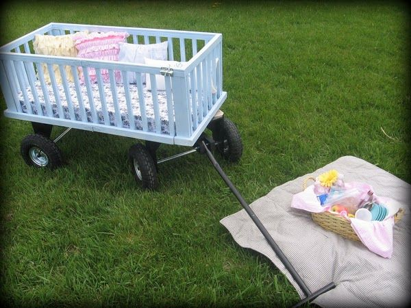 crib upcycled into a wagon