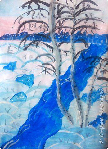 Зимний пейзаж по МК Ольги Уралочки http://stranamasterov.ru/node/1062681?c=favorite Работы детей 4 класса. фото 7