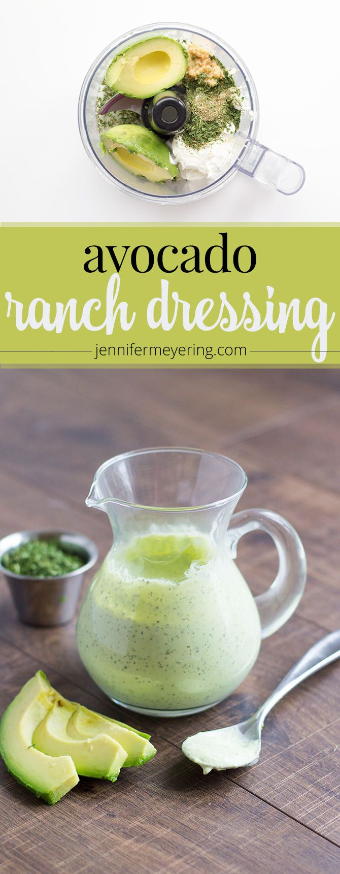 Avocado Ranch Dressing - JenniferMeyering.com (Ketogenic Recipes Avocado)