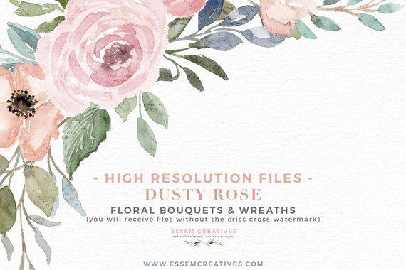Dusty Rose Floral Watercolor Wreath Clipart Floral Border Clipart Dusty Blue Clipart Png Vintage Rustic Wedding Invitation Logo Graphics Undangan