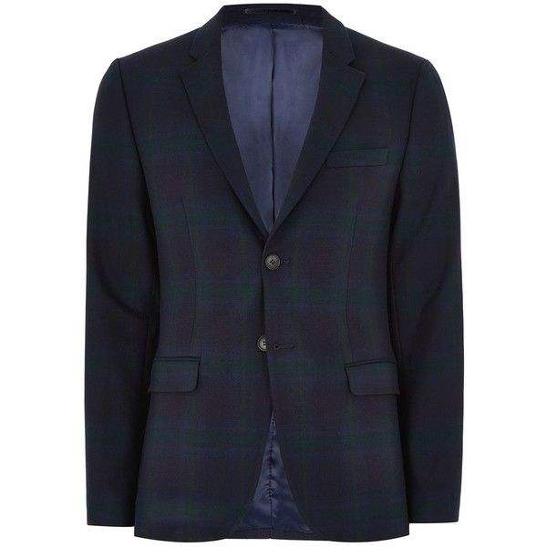 TOPMAN Navy Black Watch Ultra Skinny Suit Jacket (8.680 RUB) ❤ liked on Polyvore featuring men's fashion, men's clothing, men's outerwear, men's jackets, navy, mens navy blue jacket, topman mens jackets, mens single breasted jacket, mens navy jacket and mens polyester jackets