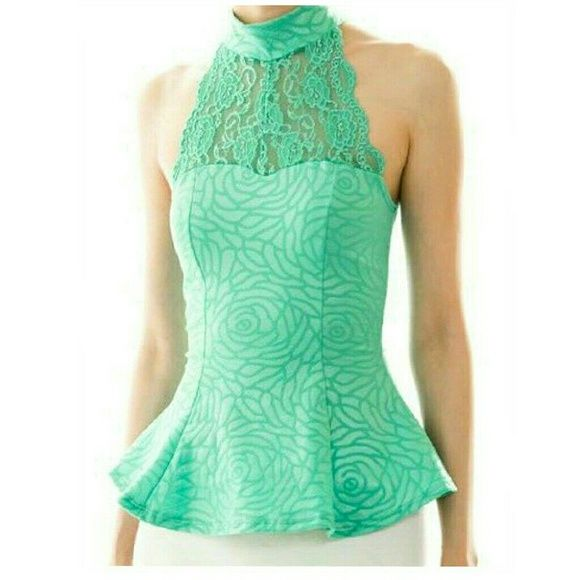 Vegan Leather Peplum Top Mint Green Vegan Leather Floral Embossed Lace Inserts front and back.  Brand New Wholesale Purchase No retail tags attached Tops