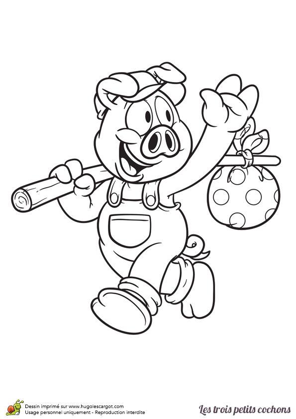 Coloriage d 39 un dessin de cochon qui dit au revoir sa for Cuisine qui se ferme