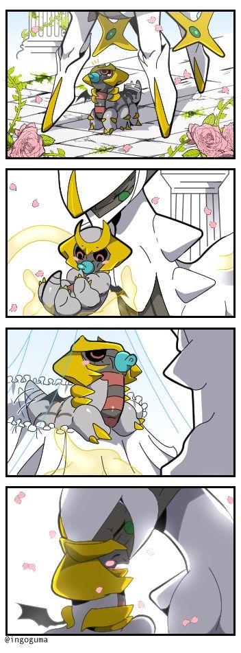 """ポケモンモンスター — arceus holding a baby giratina!!<<<Ok ever since I heard a theory that Giratina isn't actually like a devil Pokemon like people think it is and that it's actually just the creator of the world's gravity (just like how Dialga was time, Palkia was space) And Giratina helped make the world just as much as the other three, but it's hard to control gravity without accidentally causing things to massively break or destroy things. Hence, Arceus was like """"Whoa Gira, your lack of…"""