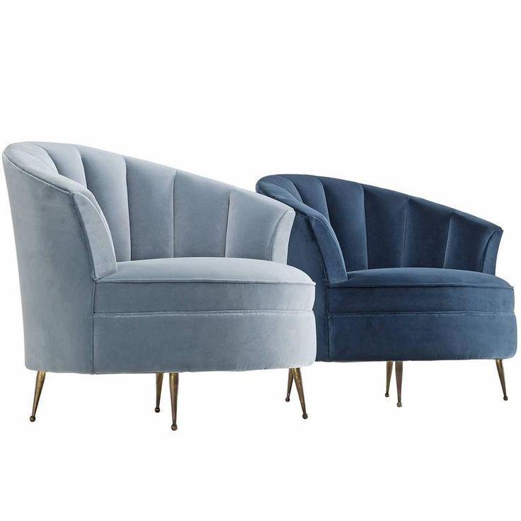 Newly Upholstered Italian Armchairs In Velvet 1950s In 2020