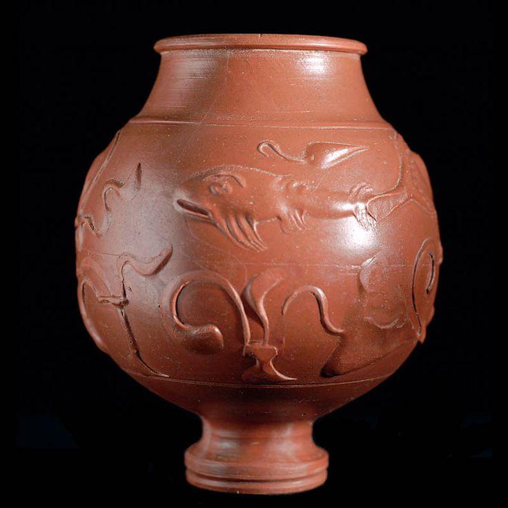 "Roman Ceramic ""Samian Ware"" Vessel Roman, Roman Imperial,  2nd century A.D. Ceramics Height: 14.7cm"