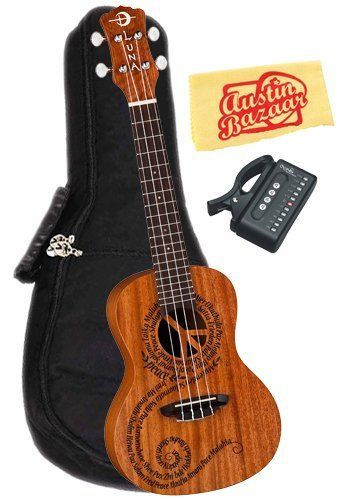 """Luna Mahogany Series Maluhia (Peace) Concert Ukulele Bundle with Gig Bag, Tuner, and Polishing Cloth by Luna. $129.00. Bundle includes Luna Mahogany Series Maluhia (Peace) Concert Ukulele, Gig Bag, Tuner, and Polishing Cloth.Maluhia means peace in Hawaiian. The Peace design on this concert uke is a very special one for us here at Luna as it embodies a philosophy we hold dear. It features a laser cut peace sign at the sound hole and the word """"peace"""" in different languages forming..."""