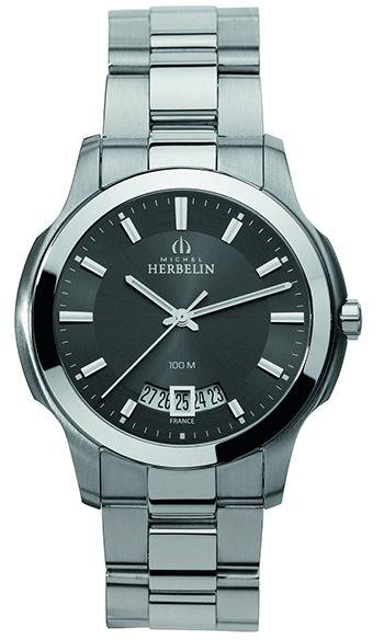 Montre Michel Herbelin Heritage - Homme - 12239/B14 - Quartz - Analogique - Verre Saphir - Cadran et Bracelet en Acier inoxydable Argent - Date