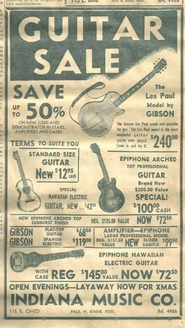 Vintage Ad for Guitars   Guitar store retro ad  Gibson les Paul Guitarra guitars guitarra cover magazine magazines gitarre gitarren antique antiques Nashville Columbus Indianapolis Austin Texas Dallas Houston Boston Chicago rare photo photos early pic pics pictures pin pins board boards