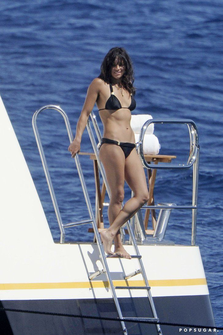 Pin for Later: The Ultimate Celebrity Bikini Gallery  Michelle Rodriguez put her fit frame on display in August 2014 when she partied on a yacht in Sardinia.