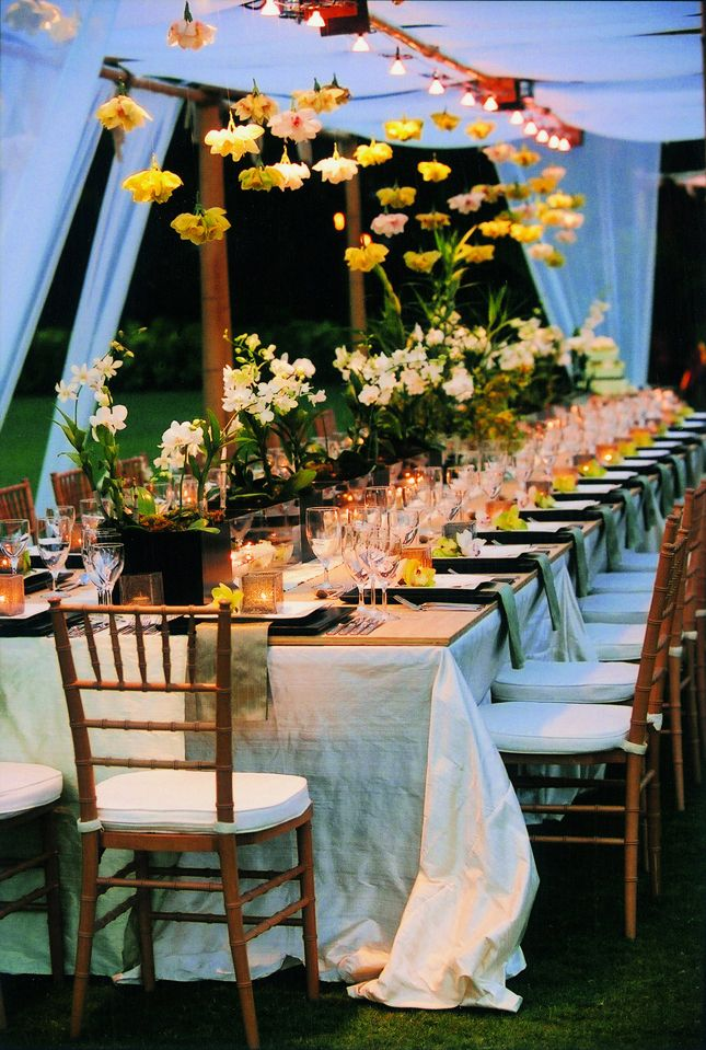 Wedding long tables flowers tablescapes table for Garden wedding table settings
