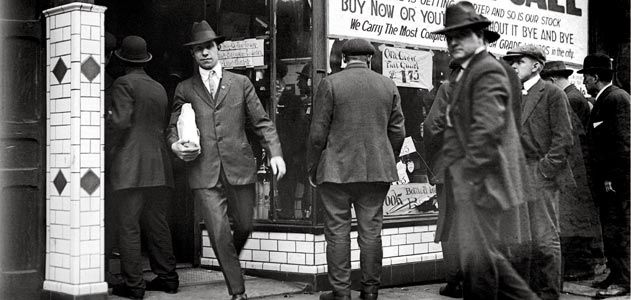 This Detroit scene was repeated across the nation, January, 16, 1920, as shoppers stocked up on the last day before Prohibition took effect.