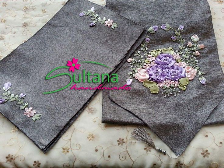 Handmade embroidery with silk ribbons table runner & placemats for more visit https://www.facebook.com/sultanahandmade