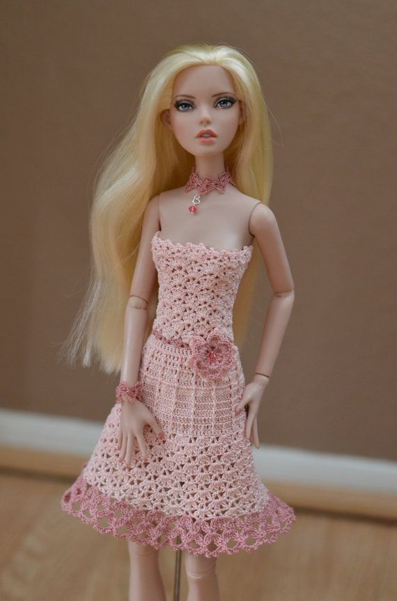 """Crocheted sundress and accessories for 16"""" Deja Vu and Antoinette Tonner Dolls, or similar size dolls"""